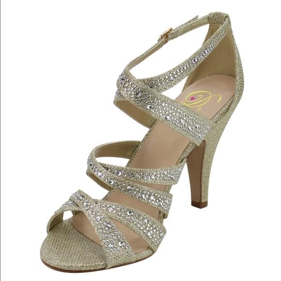 70282eecb56 Gold rhinestone dress sandal Heels Strap peep toe